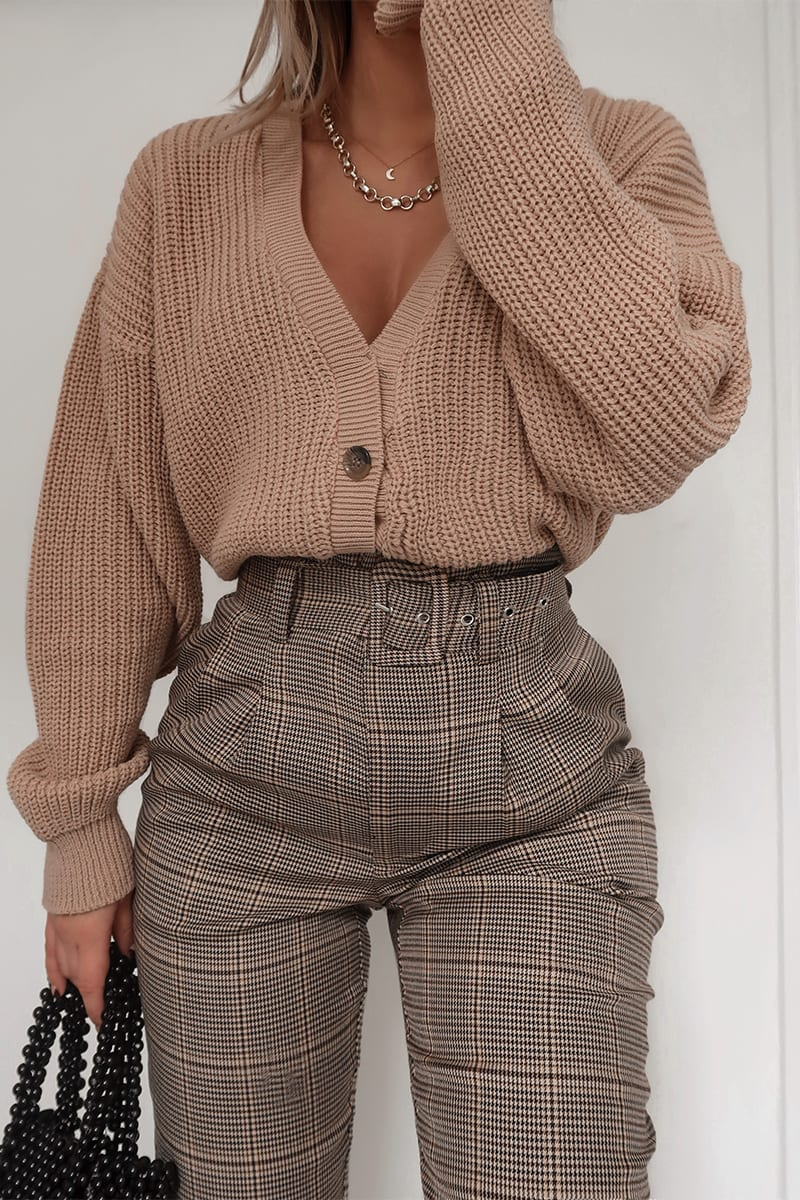 FASHION INFLUX BROWN HERITAGE CHECK TROUSERS – Moda
