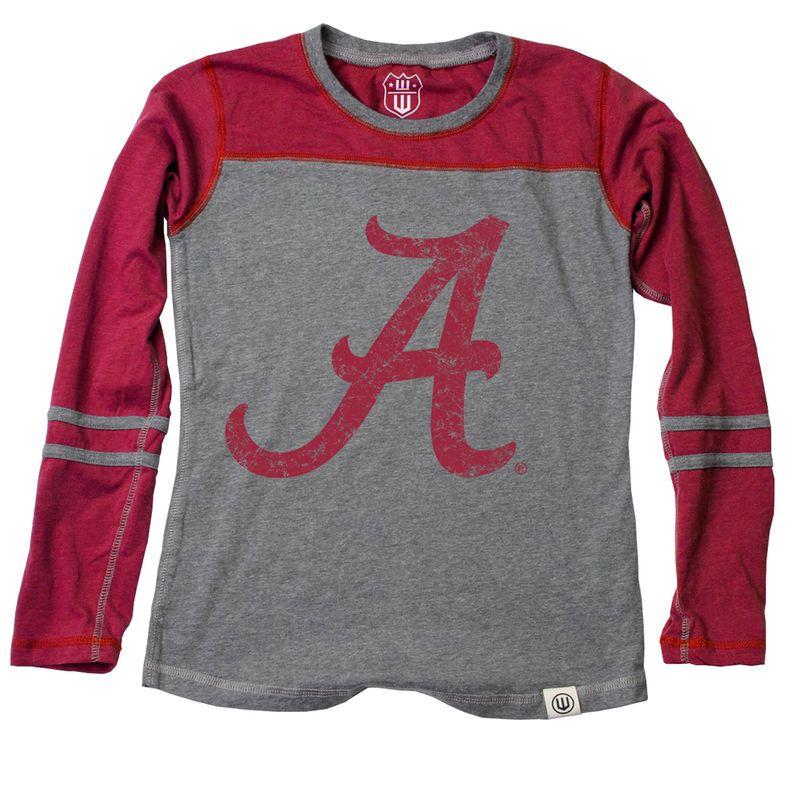 Alabama Crimson Tide Wes   Willy Girls Toddler Slub Blend Long Sleeve  Jersey T-Shirt - Heathered Crimson 5ad3ce27b