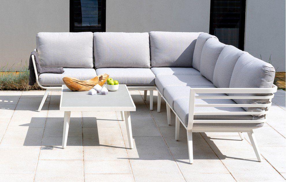 Ibiza White Aluminium Corner Lounge Set Corner Sofa Set Sofa Set Furniture