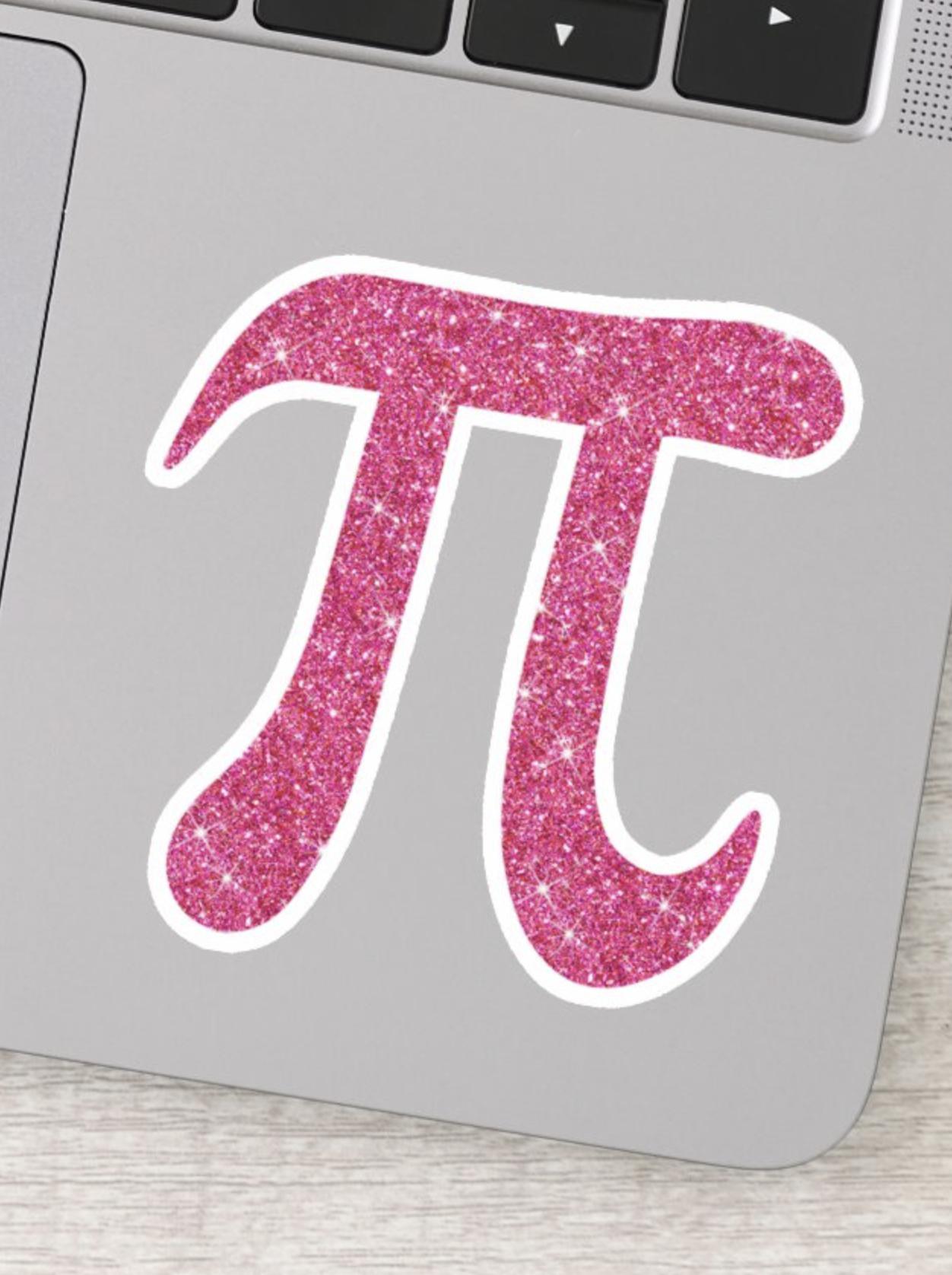 Pink glitter pi symbol stickers in 2020