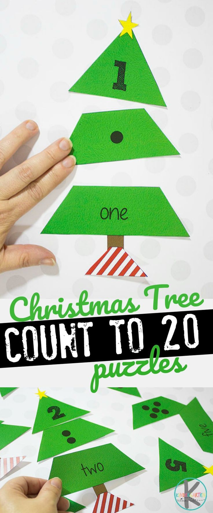 FREE Christmas Tree Count to 20 Puzzles Christmas