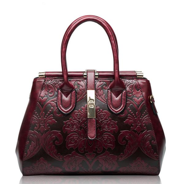 963e63fa294 Hot-sale designer Genuine Leather Shoulder Bag Embossed Women Bag New  Fashion Flowers Printed Totes