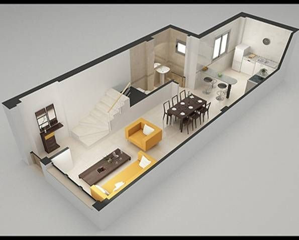 Plano cocina y living integrado buscar con google casas for Disenos de living comedor y cocina