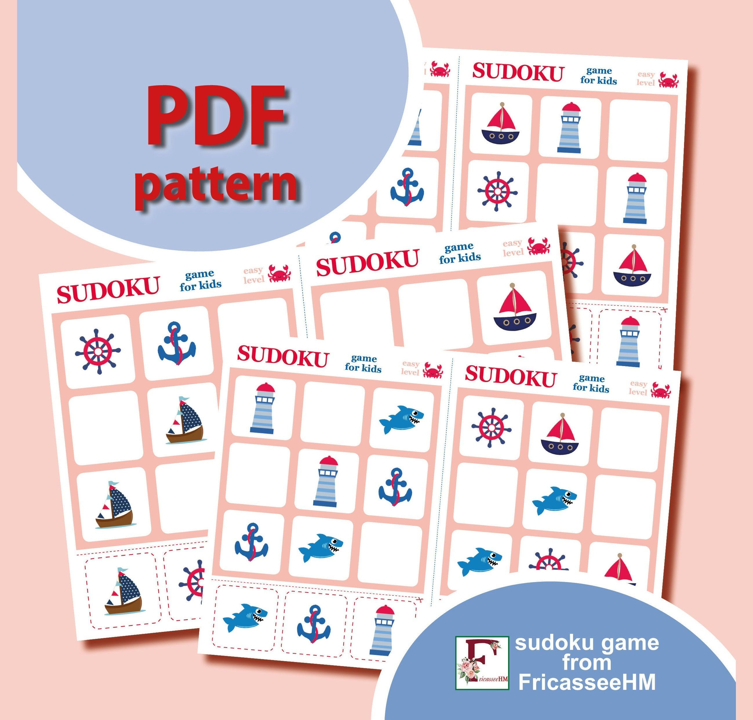 Easy Sudoku Puzzles, 20 Printable boards, PDF Pattern