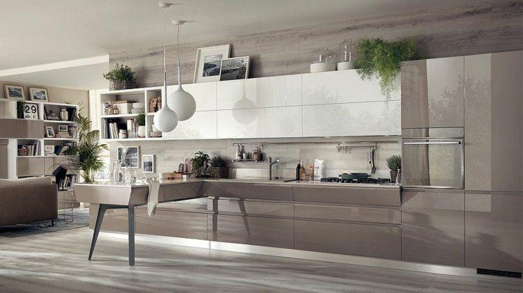 Cuisine ouverte sur salon de design italien moderne