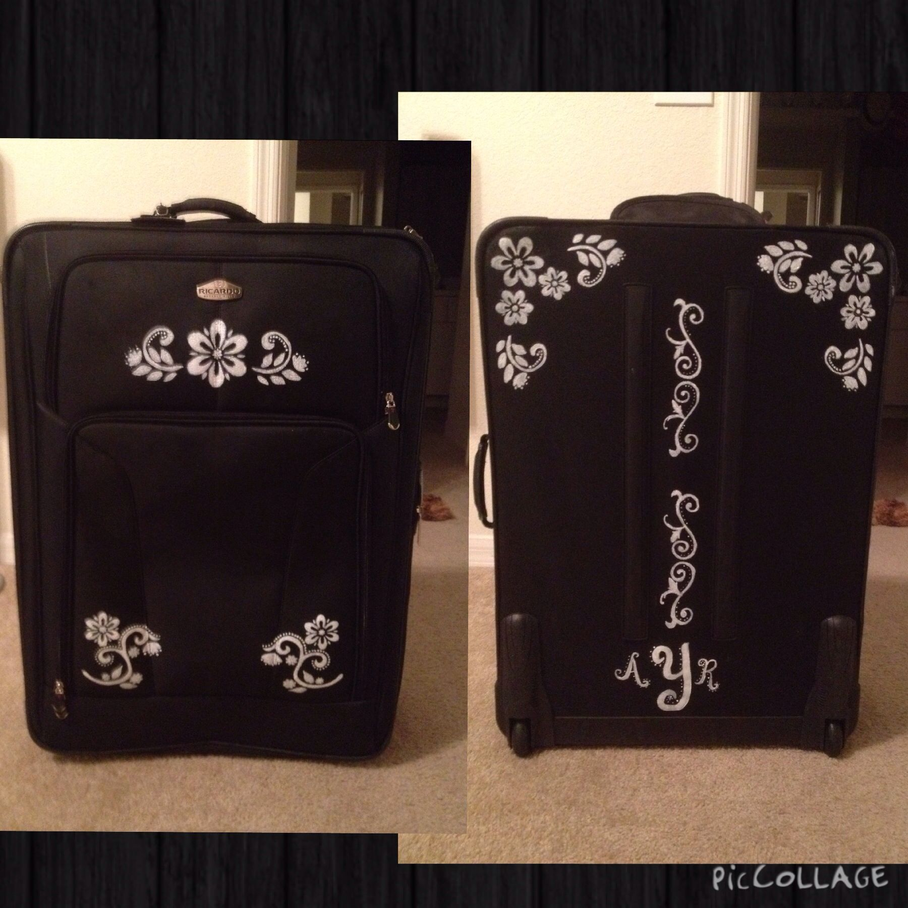 Custom painted suitcase/luggage. Fabric paint and stencils.   My ...
