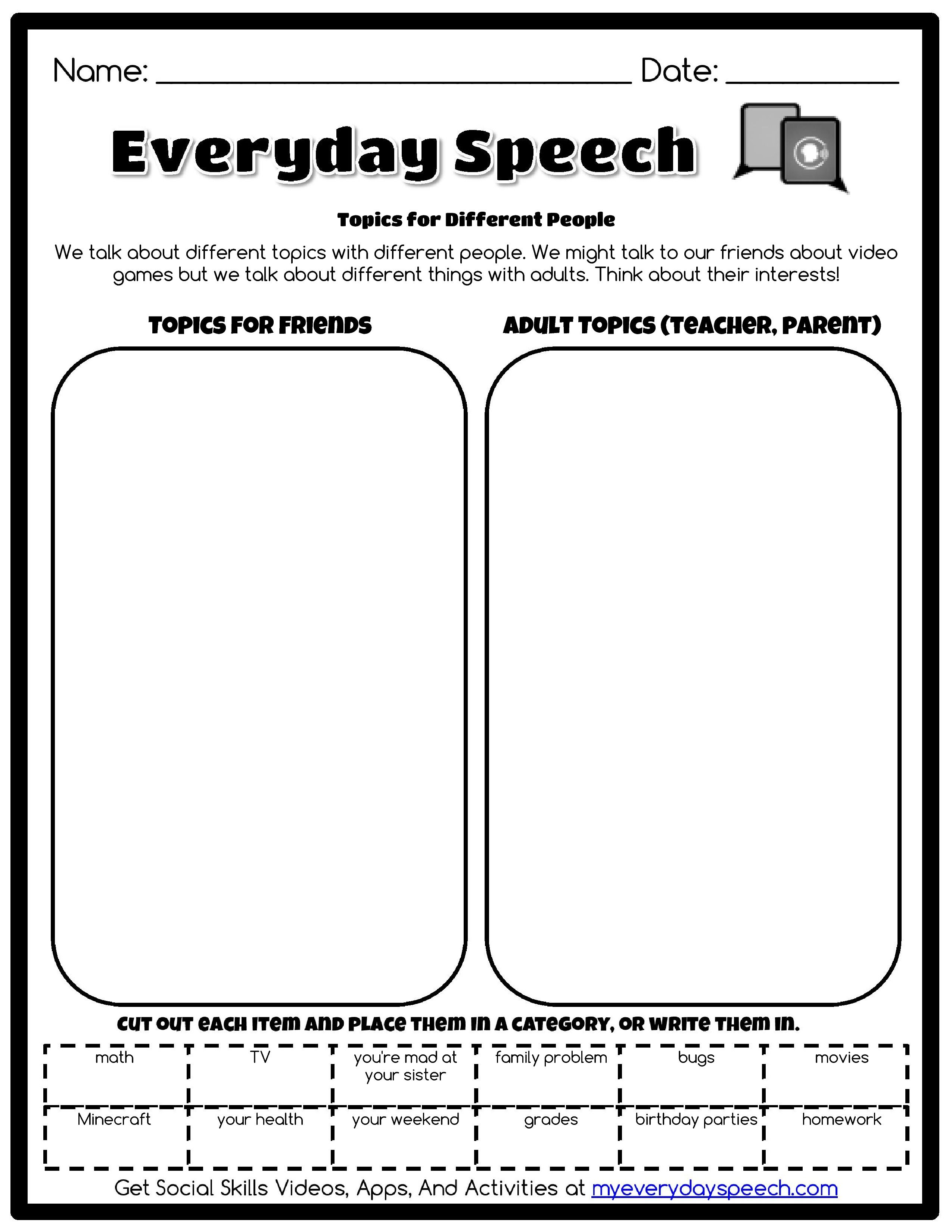Working On Appropriate Topics For Convo Skills Use This Free Worksheet