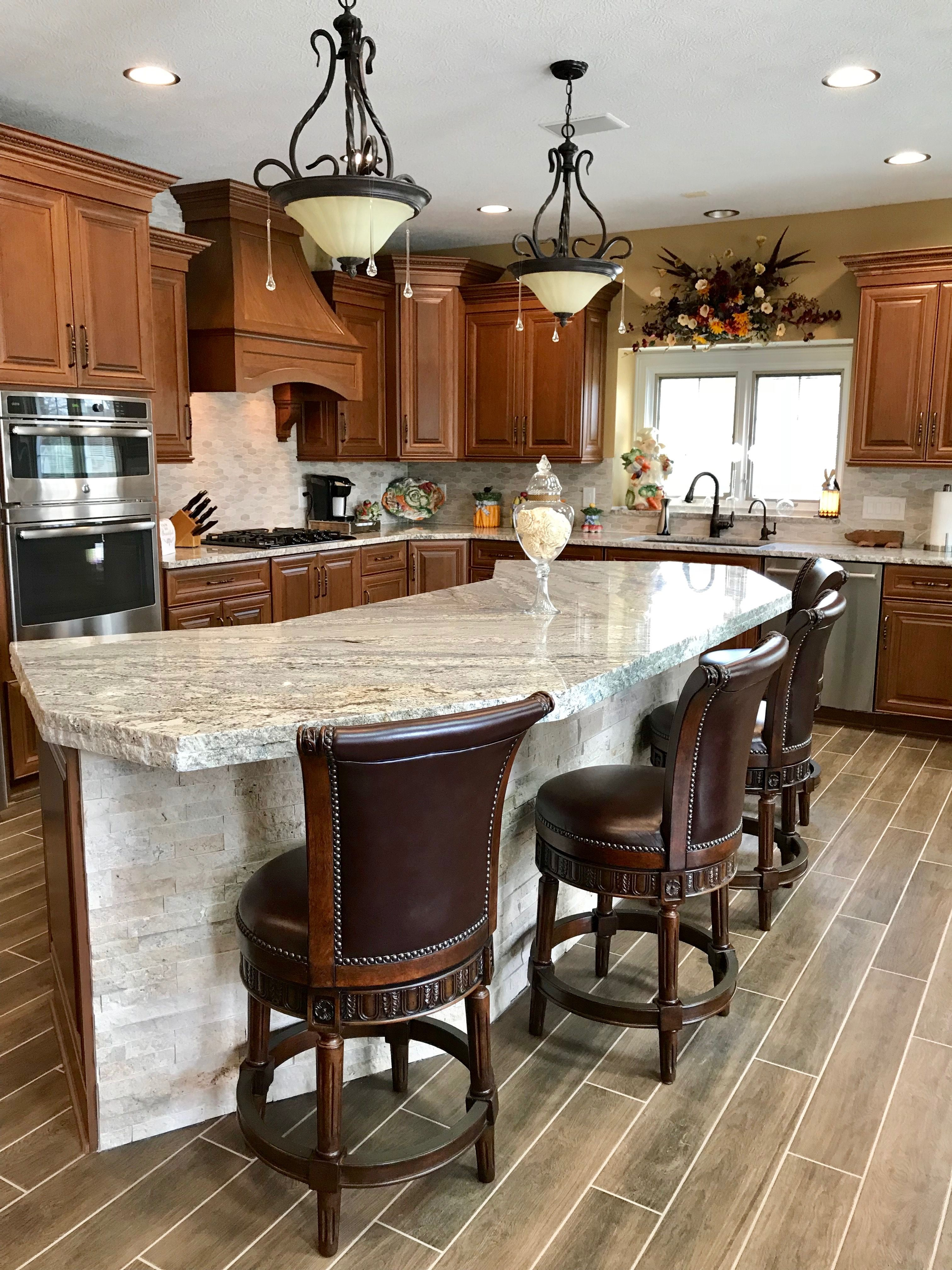2018 kitchen remodel is finished with cherry cabinets flowing granite wood look tile floor on kitchen remodel floor id=68582