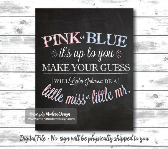 chalkboard gender reveal party little miss by SimplyModernDesignx