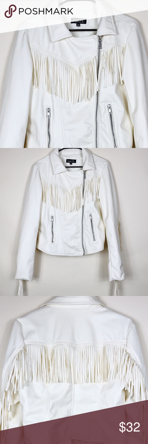 Rue21 off white faux leather fringe jacket. Size L