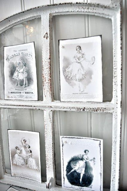 Upcycled salvaged old windows postcard or photo display