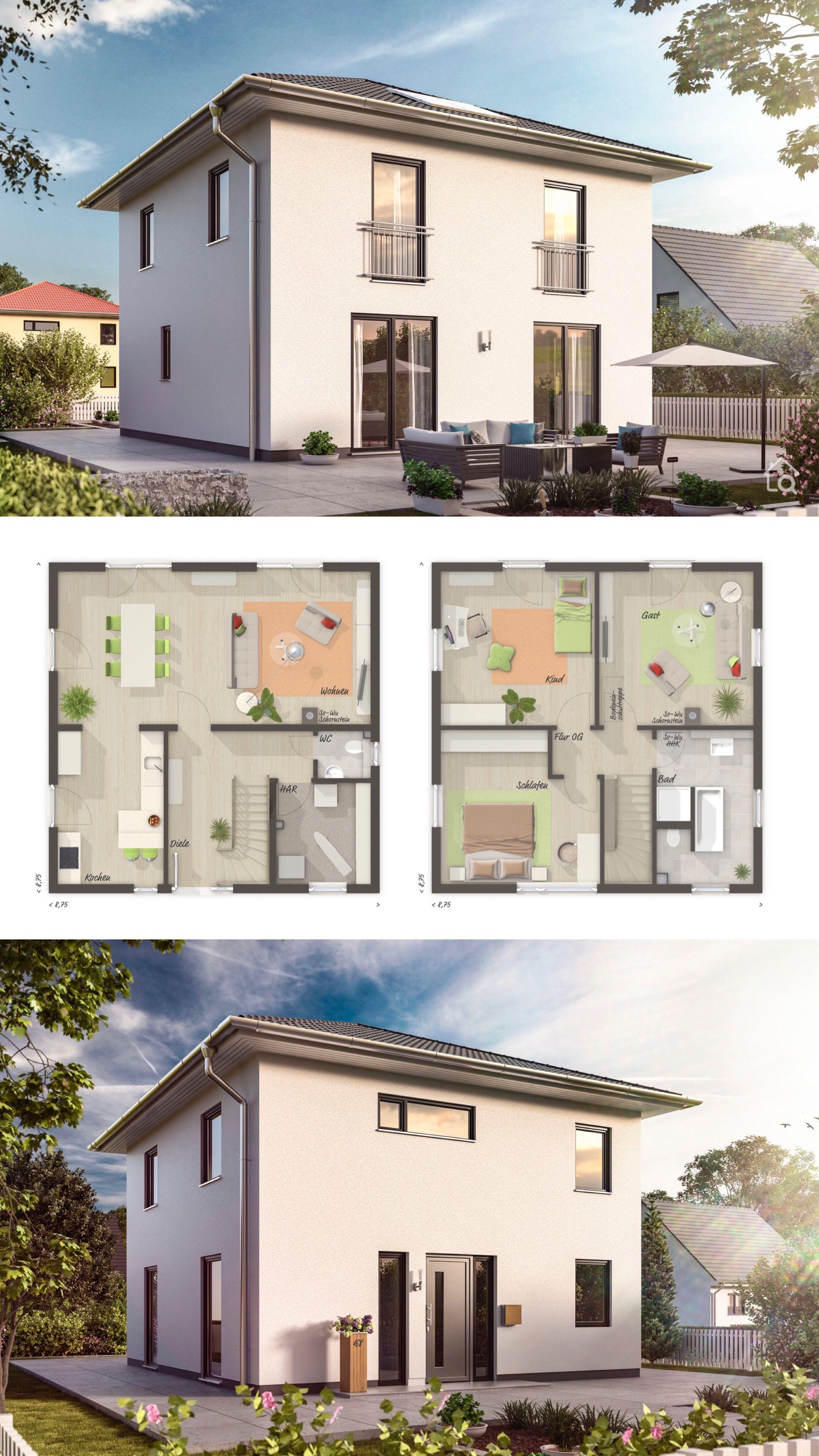 Moderne Massivhaus Stadtvilla mit Putz Fassade & Walmdach