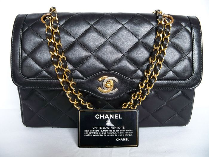 "3c2769177 Catawiki online auction house: Lot of 3: Chanel - Classic double-flap  ""medium"" handbag - ""Paris Limited Edition"", Prada bi-sided tri-fold wallet,  ..."