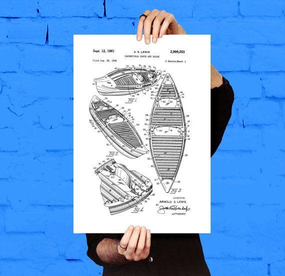 Canoe Patent, Canoe Poster, Canoe Blueprint, Canoe Print, Canoe Art - new blueprint software ios