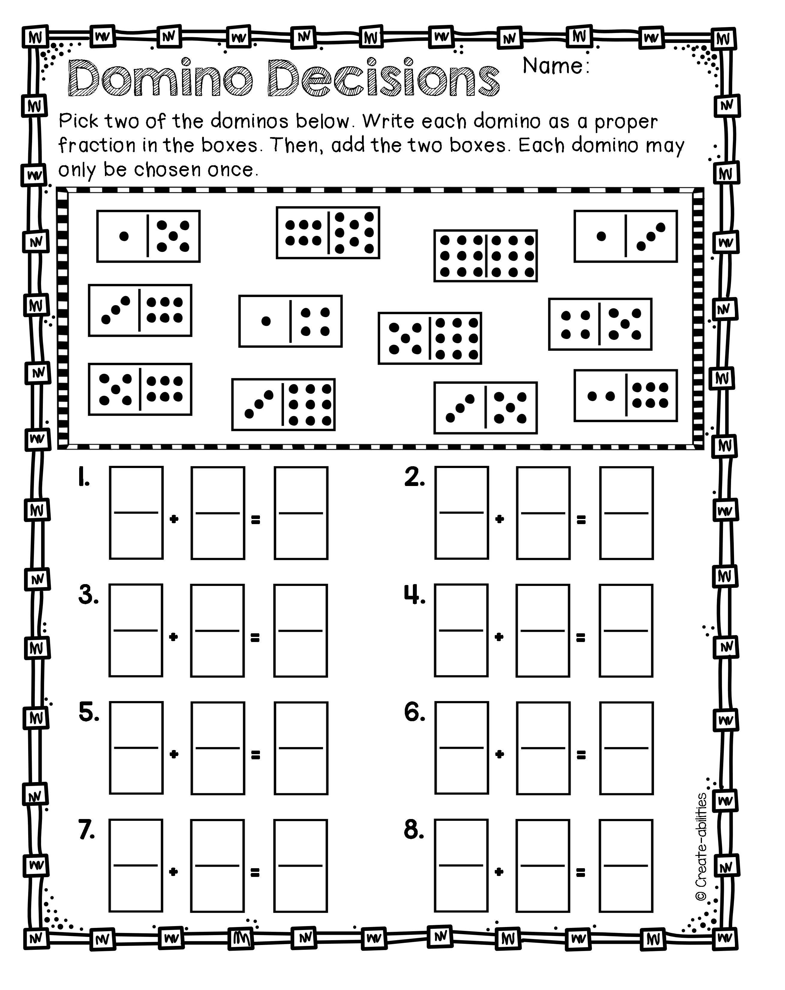 Adding And Subtracting Fractions Games And Activities Adding