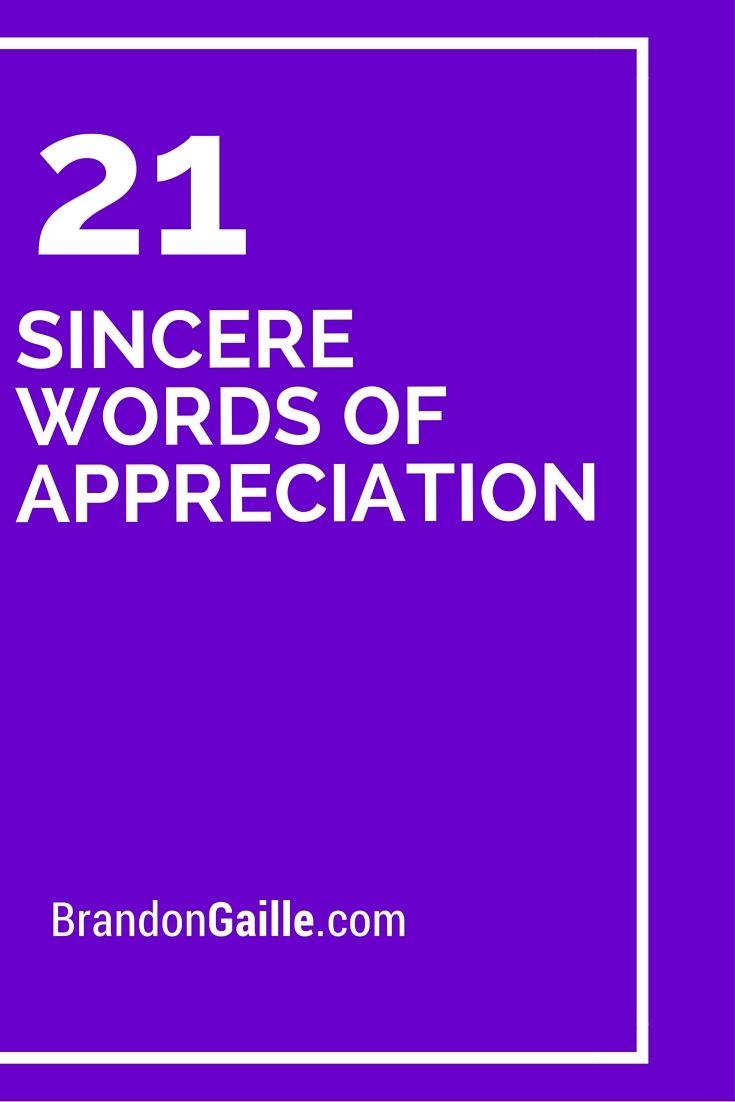21 Sincere Words Of Appreciation Cards Sentiments Pinterest