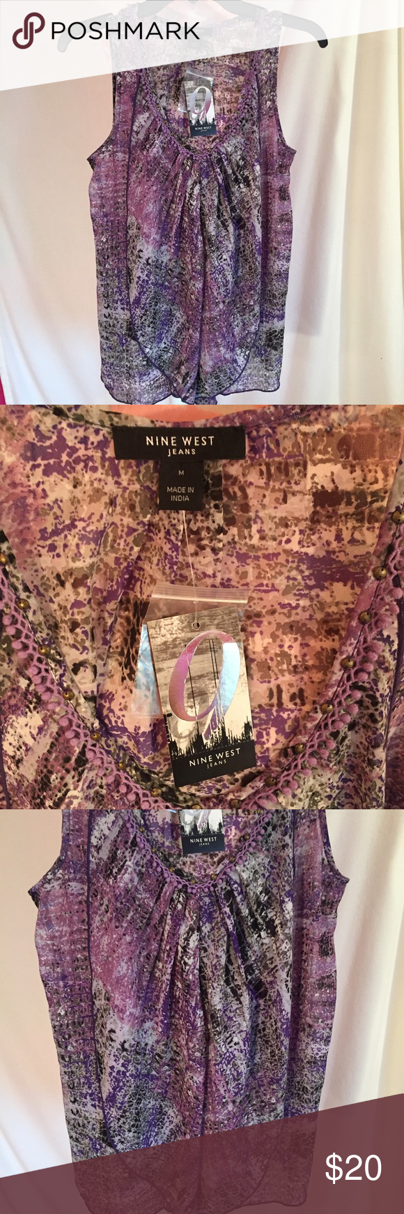 Nine West Purple Pattern Chiffon Tank purple chiffon patterned tank with a scooped neckline and small ruffle in the front! Perfect for business casual attire. Never been worn//still has tags! Nine West Tops Tank Tops