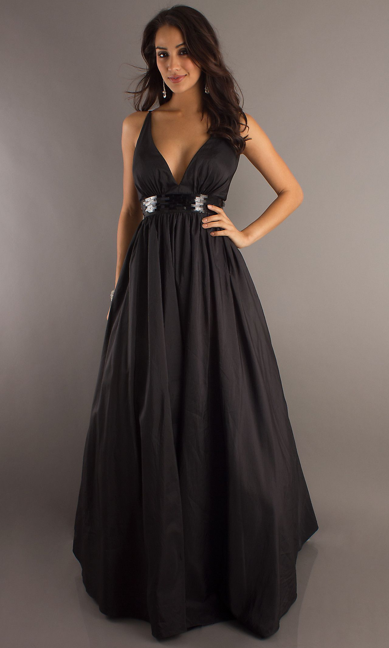 Black Ball Gown, Sexy Low Cut Black Evening Gown - Simply Dresses ...