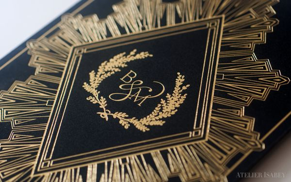 Black and Gold Deco Wedding Invitation by Atelier Isabey , via Behance