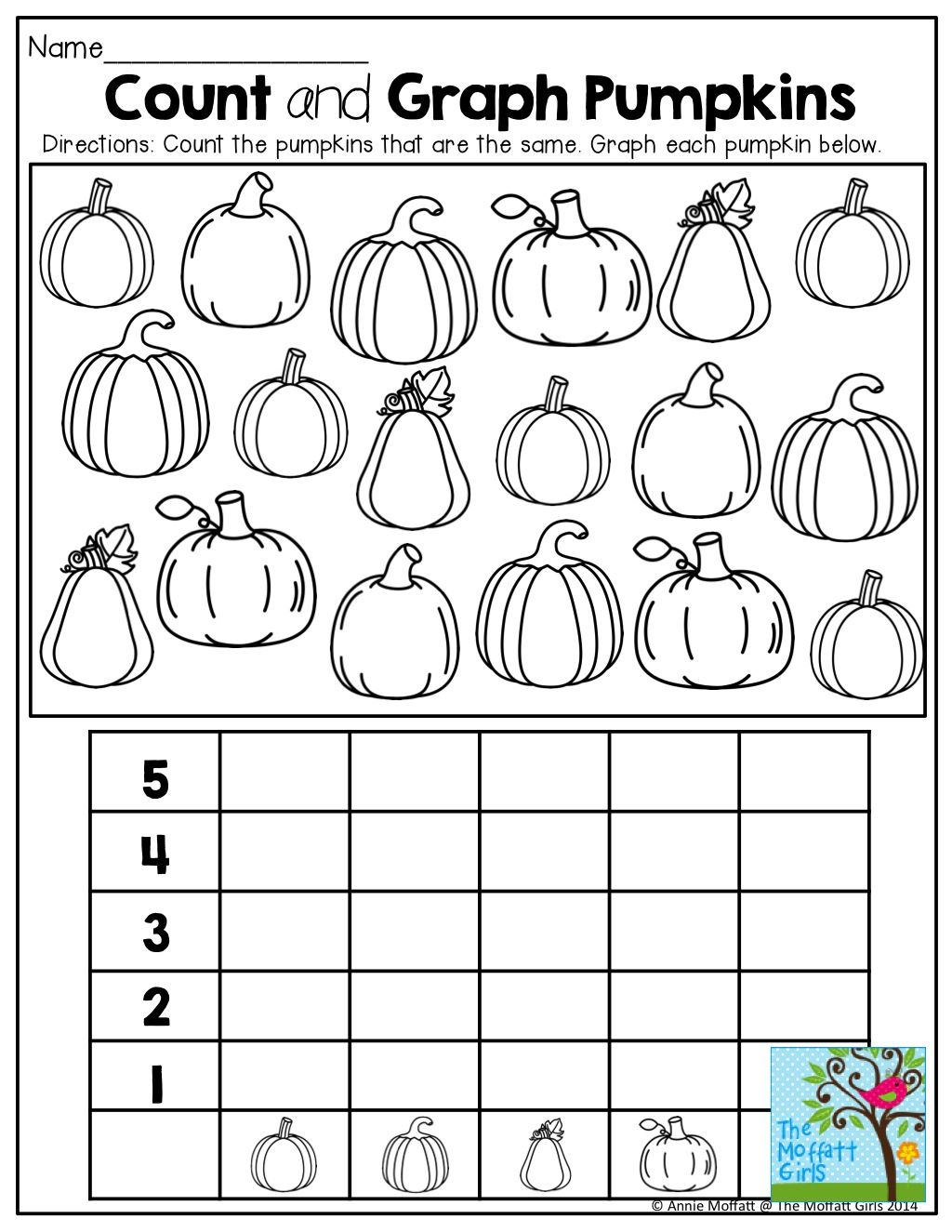 Graphing Pumpkins and TONS of other fun printables – Halloween Graphing Worksheets