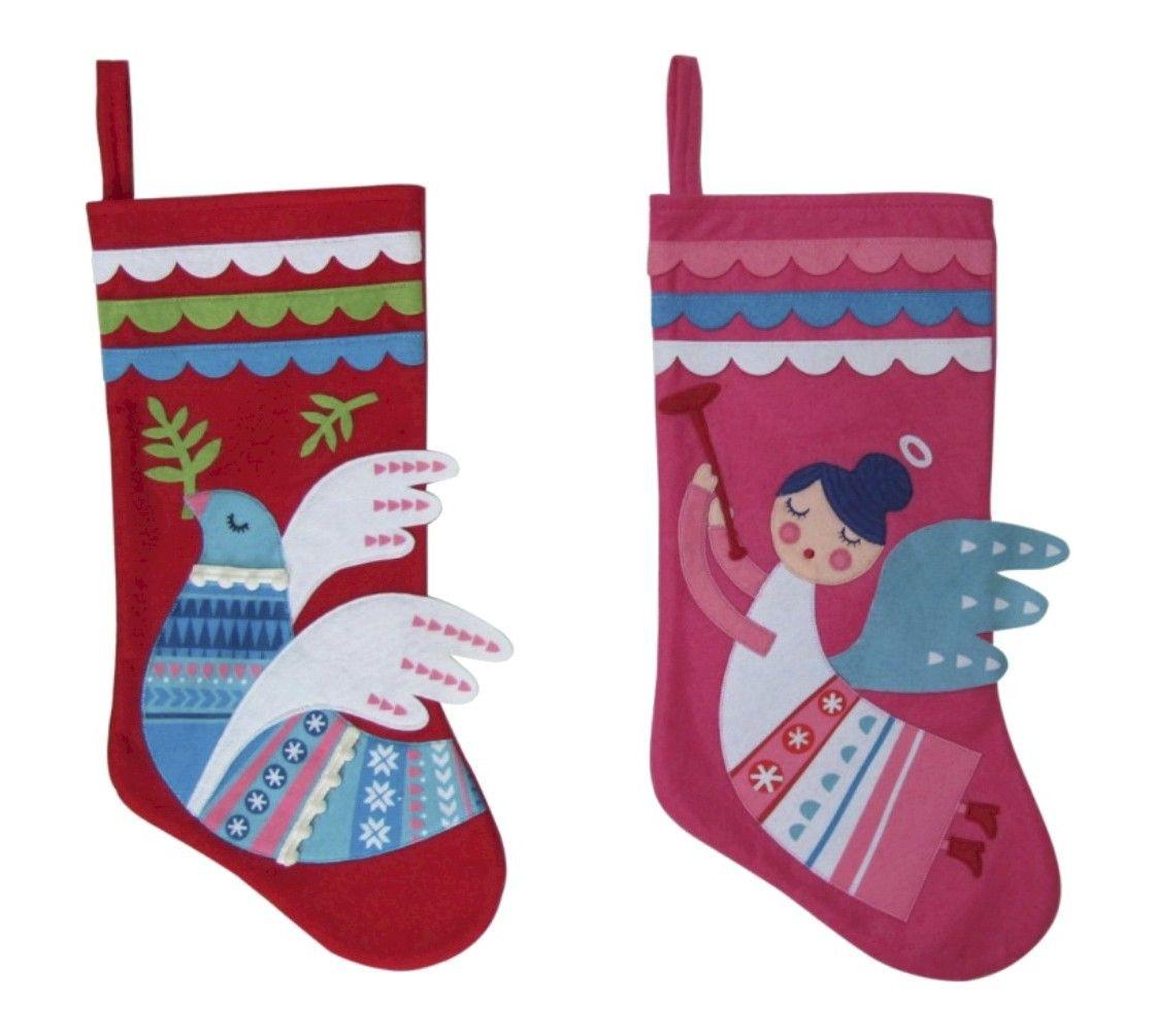 """Holiday Santa/Angel/Dove Felt Stocking 17.25"""""""