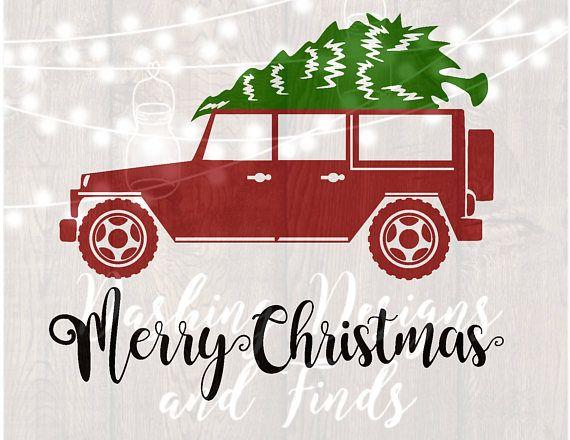 Christmas Jeep.Digital Download Merry Christmas Svg Christmas Truck Svg