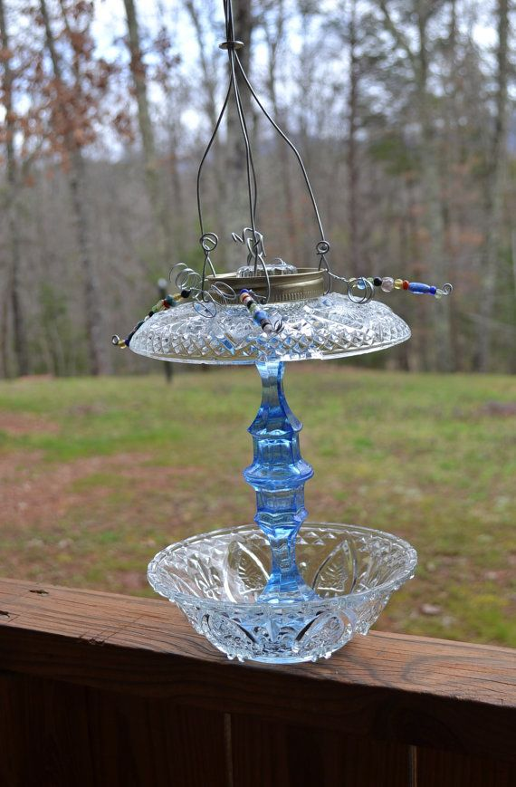 Upcycled bird feeder shabby chic blue glass recycle bird for Upcycled bird feeder