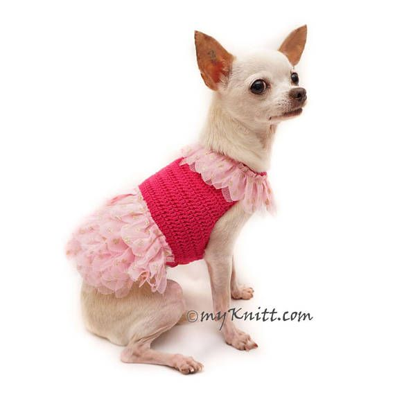 Pink Ballerina Dog Dress with Gold Glittery Tutu. Very elegant and beautiful collection from Myknitt Designer Dog Clothes. Please kindly check your pets measurements with my pattern size chart to make sure the item fits before ordering. XXS ($38) Fits neck:8 Fits chest:10 Length:8 XS($45)
