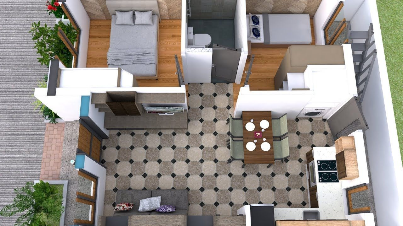 3d Simple House Plan With Two Bedrooms 22x30 Feet Simple House