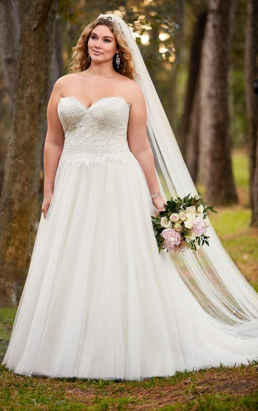 A Line Plus Size Wedding Dress With Princess Cut Neckline Curvy