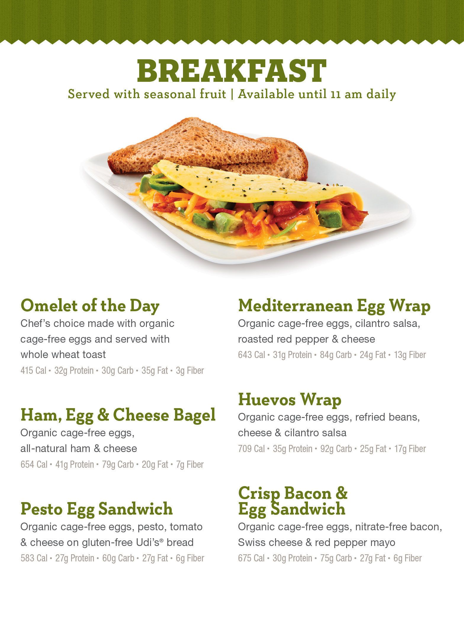 life cafe menu - meals, snacks for your healthy diet at life time