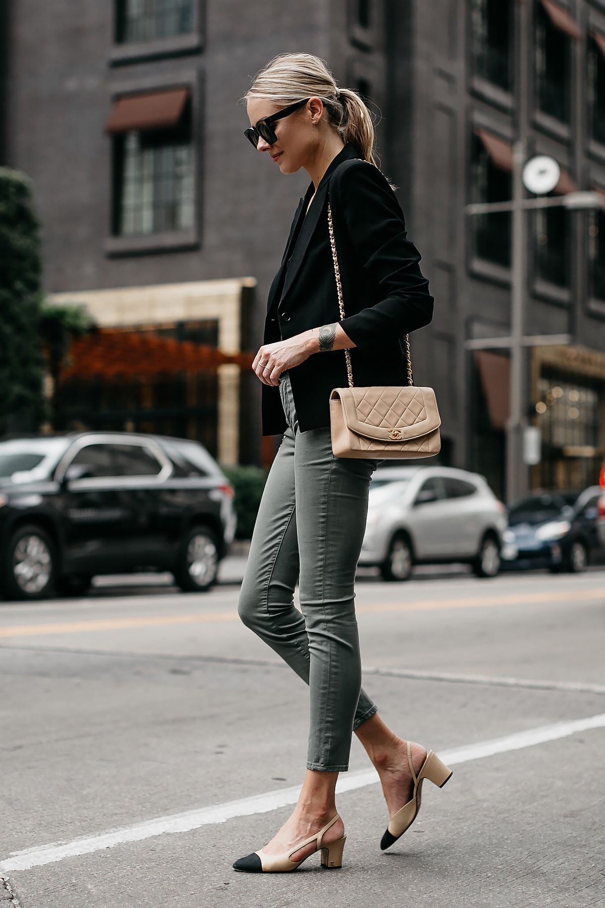 37ff265223 Blonde Woman Wearing Black Lace Cami Black Blazer Frame Olive Green Jeans  Chanel Slingbacks Chanel Tan