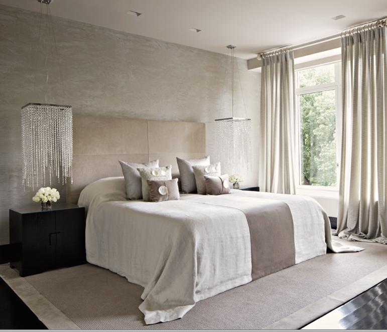 camera da letto. bellissima la scelta delle lampade sopra i comodini ...