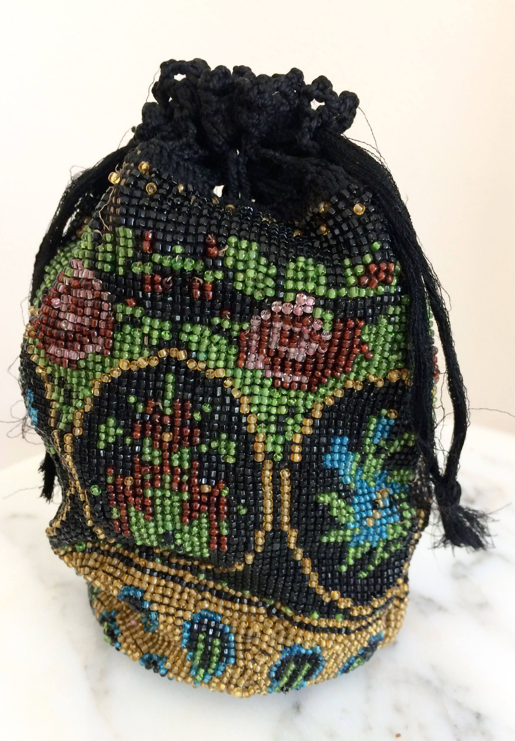 Beaded Evening Clutch Purse 1940/'s Beaded Decorative Change Purse,Vintage Beaded Small Bag Vintage 1950/'s Vintage Black Beaded Coin Purse