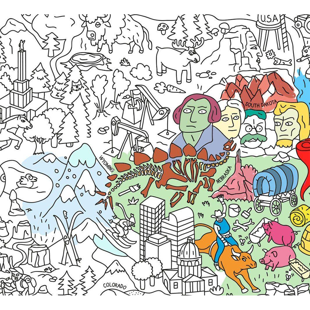 Giant Coloring Poster Usa Adventure Art Spirograph Design Poster