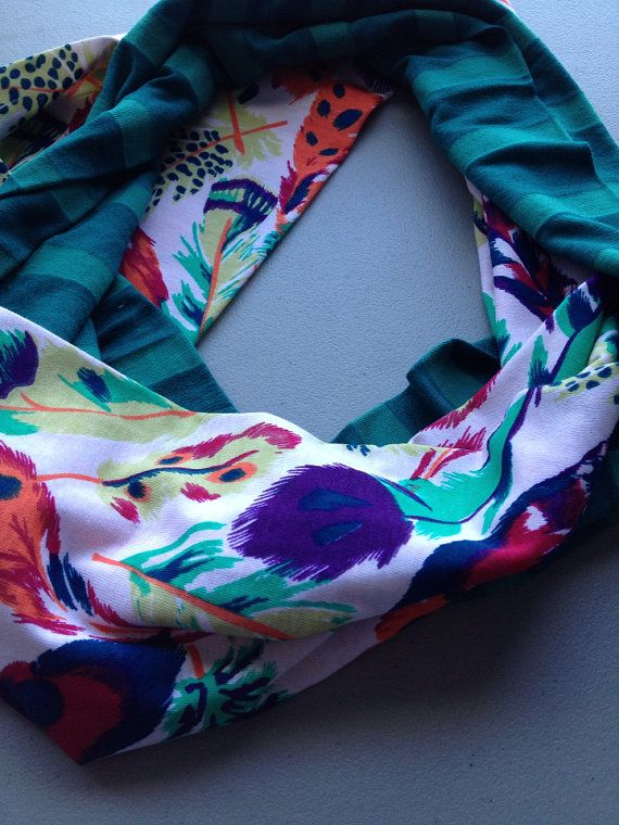 Jersey Infinity Scarf In Green Stripe and Feathers by LilyAlyssaBoutique