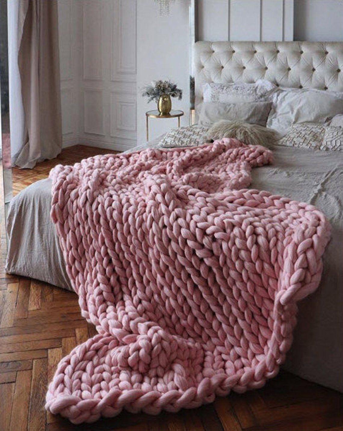 Chunky Knit Merino Wool Blanket Wool Blanket Queen Wool Etsy Big Yarn Blanket Big Knit Blanket Knitted Blankets