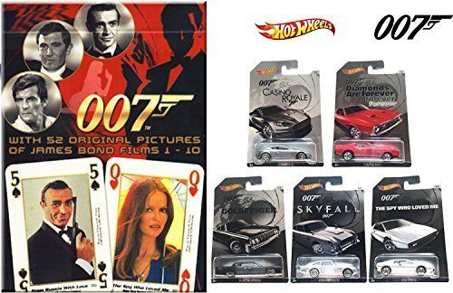 James Bond Exclusive Hot Wheels Set 2015 & Cartamundi Casino Film Playing Cards Day Die-Cast Cars Goldfinger, Skyfall, Casino Royale, Aston Martin