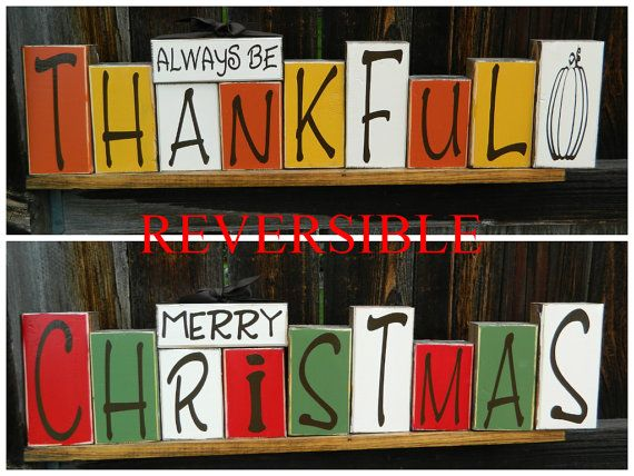 Reversible Thanksgiving And Christmas Wood Blocks Merry