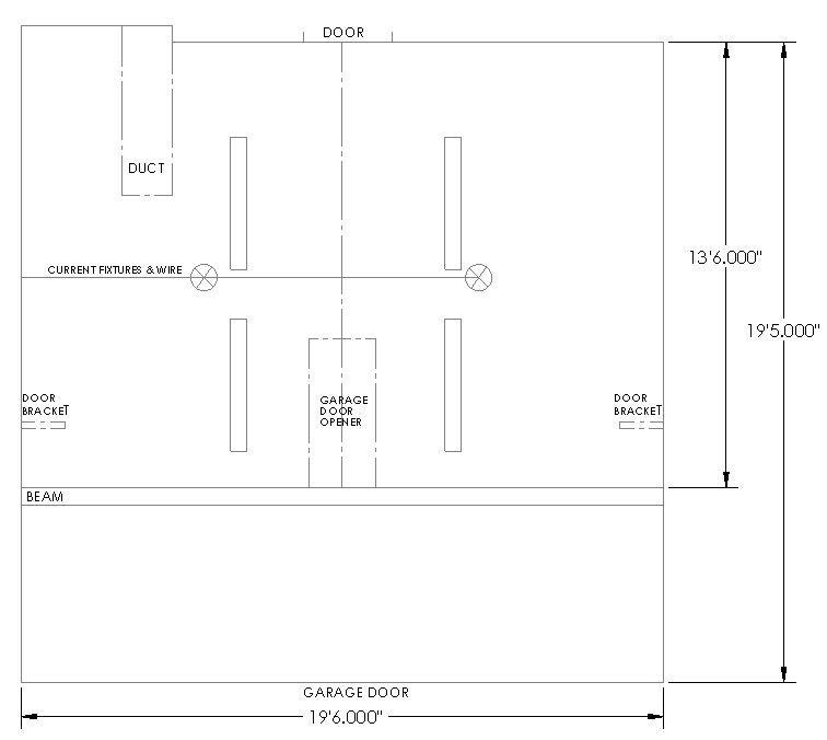 two car garage florescent lighting plan