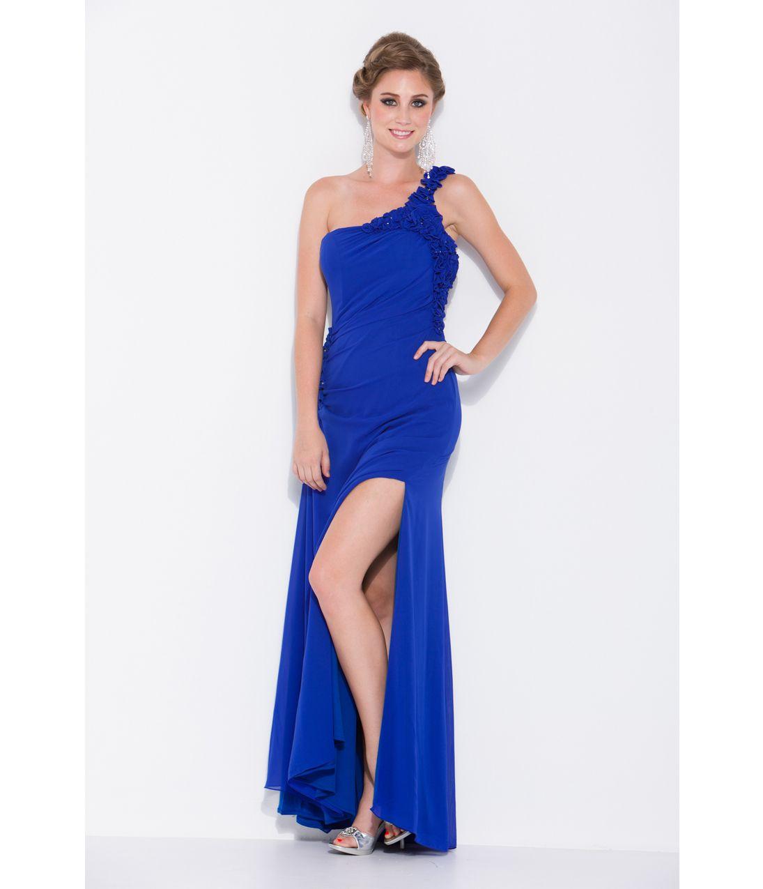 Unique vintage prom royal blue and shoulder