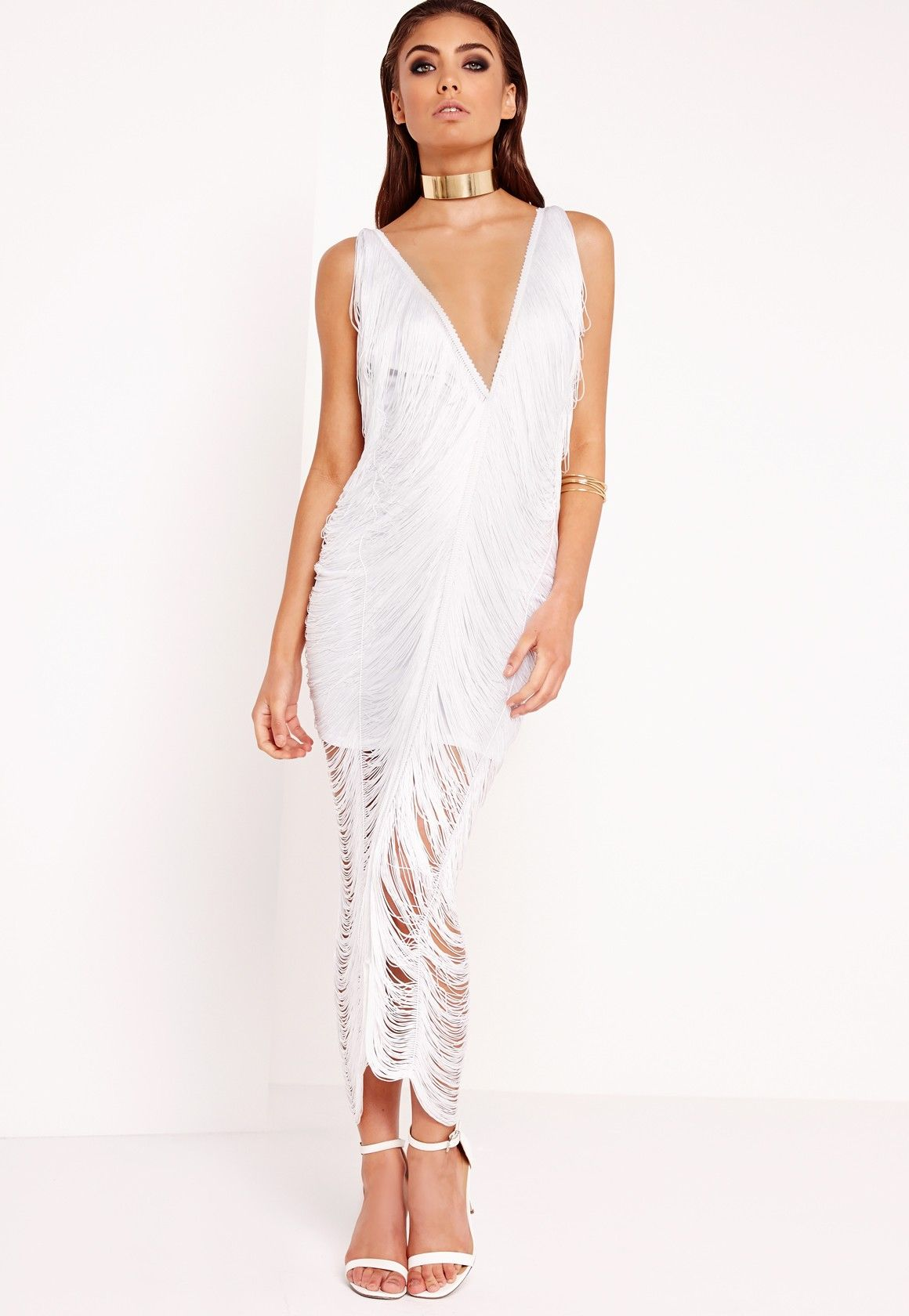 Missguided - Peace Love Fringe Midi Dress White  dd854d9fc