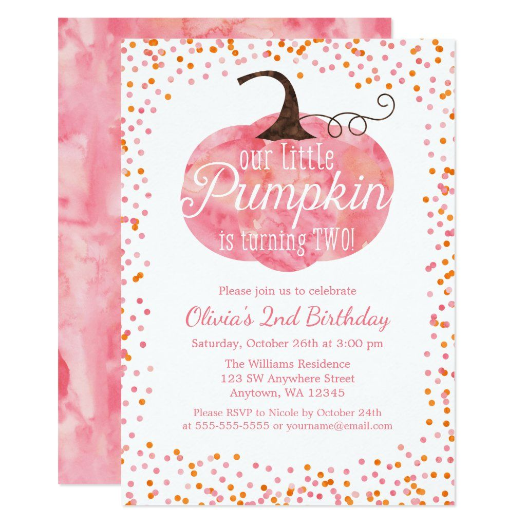 Watercolor Pumpkin Confetti Girl 2nd Birthday Invitation