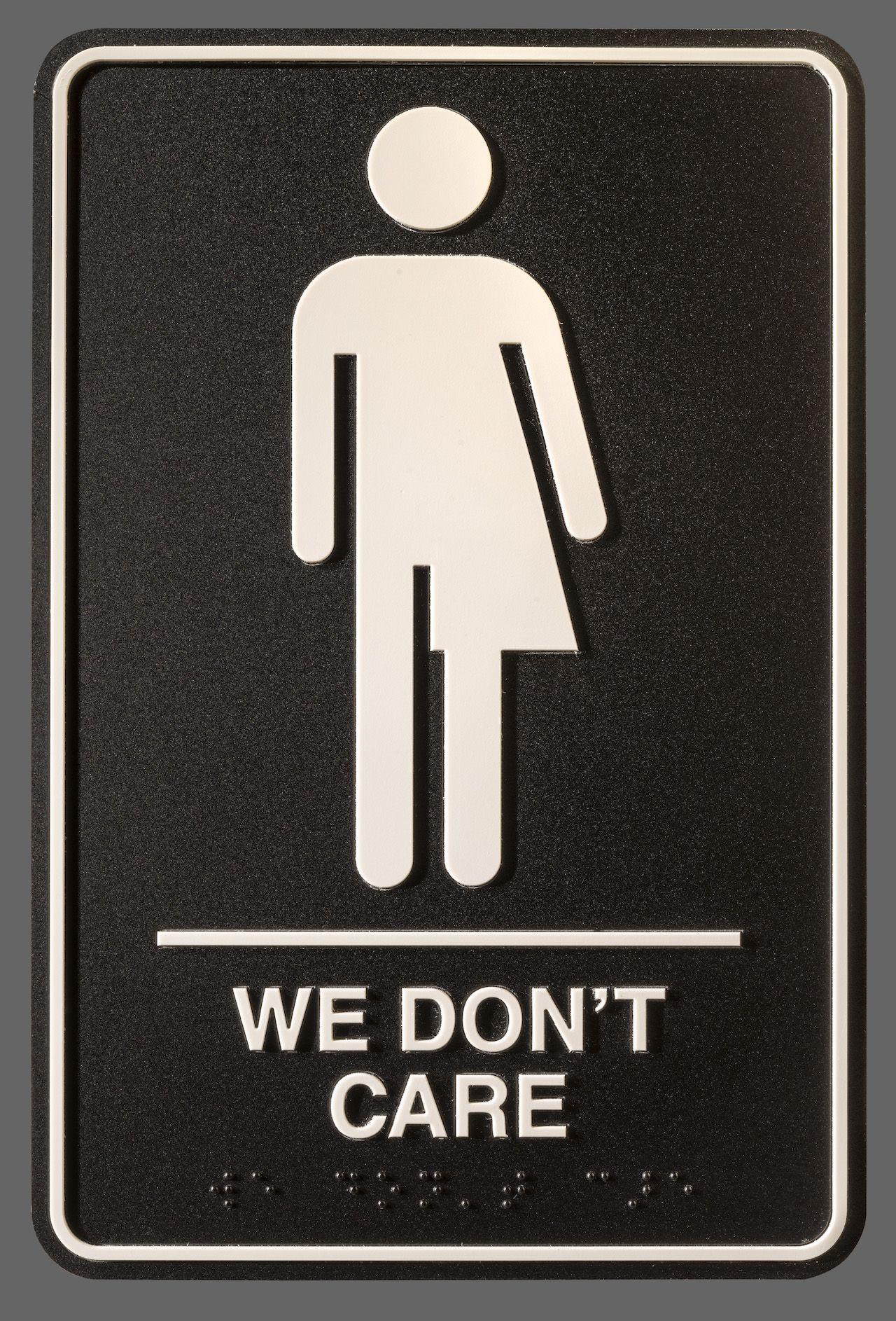 We Dont Care Courtesy Peregrine Honig Slade First Floor - All gender bathroom sign for bathroom decor ideas