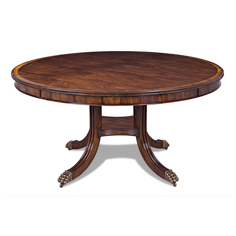 60 Inch Round Traditional Dining Table Solid Brass Feet Dining