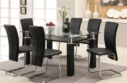 Riggan Black Metal Pu Chrome Glass Dining Room Sets Glass Dining Room Table Dining Room Table Set Stylish Dining Room