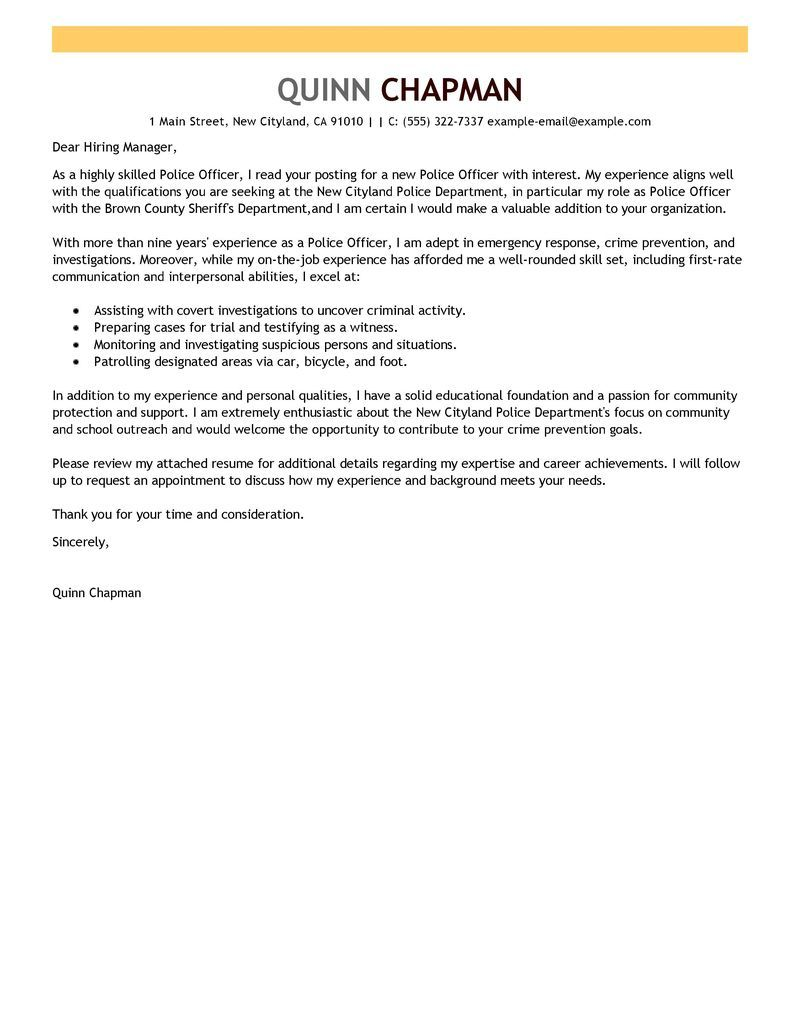 Security Resume Cover Letter  Cover Letter For Law Enforcement