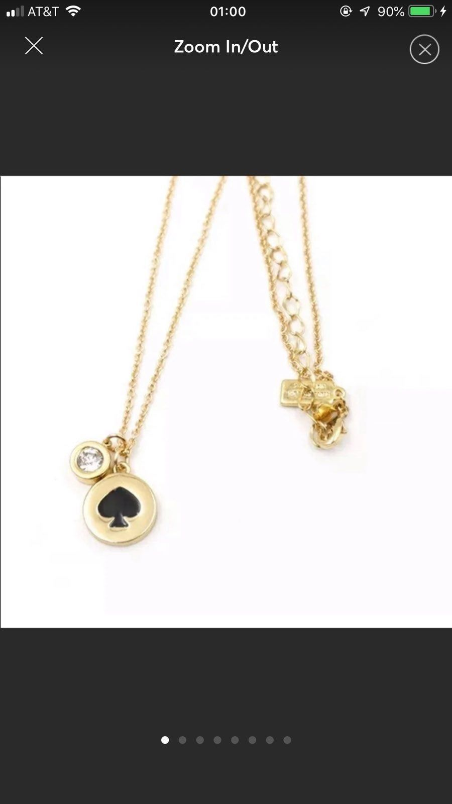 Nwt Kate Spade Black Spot The Spade Collection 12 Karat Gold Plated With Pave Crystals Necklace Con Crystal Pave Necklace Fashion Pouch Kate Spade Necklace