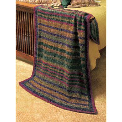 Knitting Prairie Stripes Throw In Lion Brand Homespun 1114a
