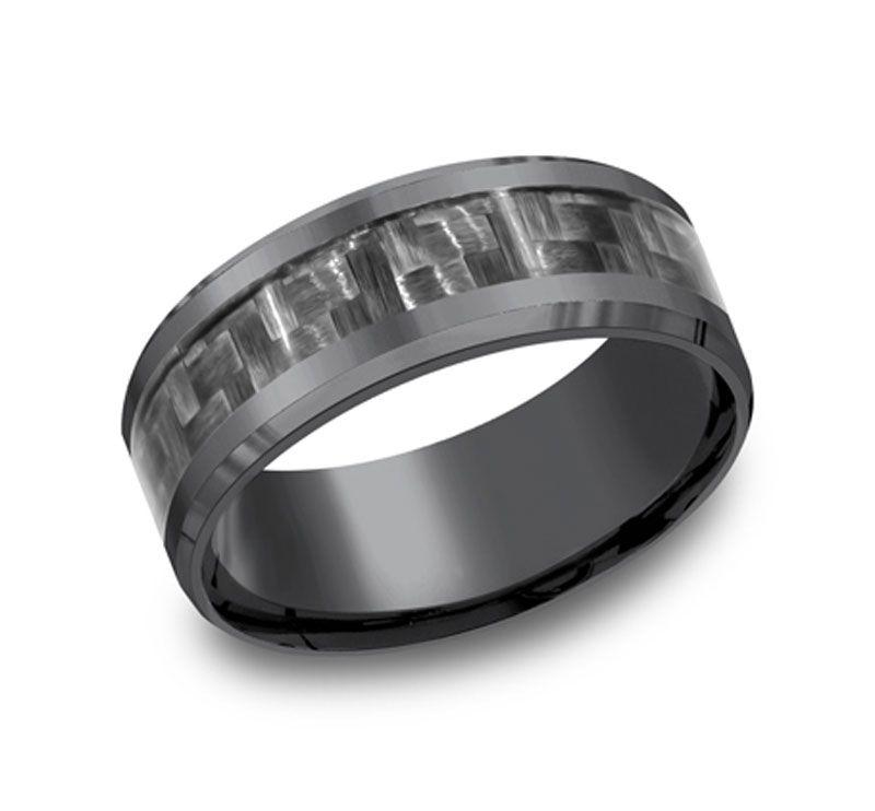 aa4c5f3503fd6 Men's 8mm Tantalum Ring with Gray Carbon Fiber Inlay   Wedding Rings ...